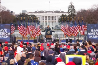 President Trump addressing protestors at White House on Jan 6 2021 (photo credit: Reuters)